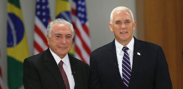 16.jun.2018 - O vice-presidente dos Estados Unidos, Mike Pence, se encontrou com o presidente Michel Temer no Palácio do Planalto, em Brasília - José Cruz/Agência Brasil