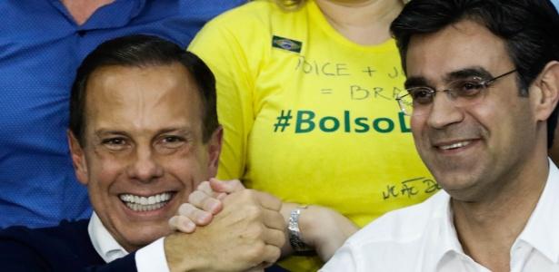João Doria (PSDB) comemora vitória ao lado do vice Rodrigo Garcia (DEM)