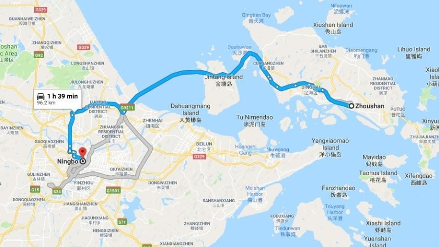 Trecho entre as cidades de Ningbo e de Zhoushan que contará com um túnel subaquático - Reprodução/Google Maps