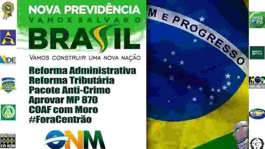 21.mai.2019 - Imagem de convocação para manifestação pró-Bolsonaro - Reprodução/Facebook Avança Brasil