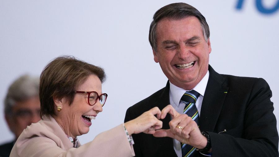 18.jul.2019 - O presidente Jair Bolsonaro (PSL) e a ministra da Agricultura, Tereza Cristina, durante evento que marcou 200 dias do governo - MYKE SENA/ ESTADÃO CONTEÚDO