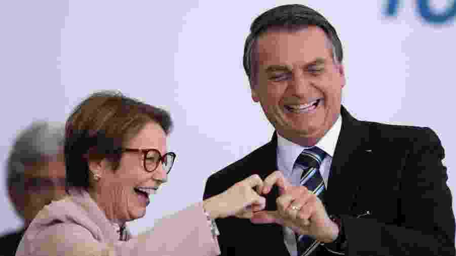 O presidente Jair Bolsonaro (PSL) e a ministra da Agricultura, Tereza Cristina, durante evento que marca 200 dias do governo - MYKE SENA/ ESTADÃO CONTEÚDO