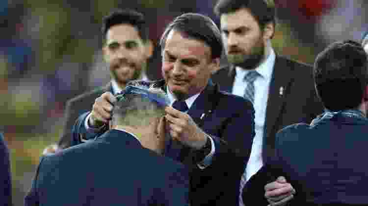 Presidente Jair Bolsonaro durante cerimônia de premiação da Copa América, no Maracanã, Rio de Janeiro - 07.jul.2019 - Marlon Costa/Futura Press/Folhapress
