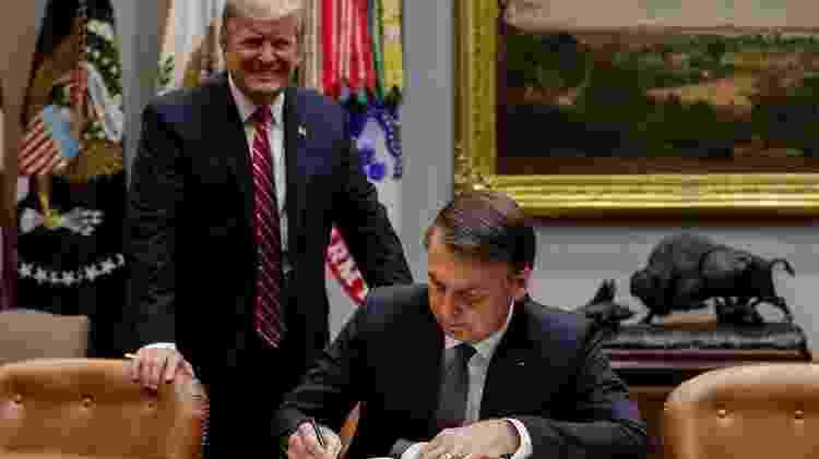 Em foto de março, Bolsonaro assina livro de visitas da Casa Branca; EUA têm condicionado as negociações a mudanças na posição brasileira em relação aos chamados 'irritantes comerciais', o etanol e trigo - Alan Santos/Presidência da República - Alan Santos/Presidência da República