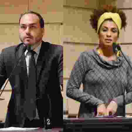 Vereadores na Câmara Municipal do Rio de Janeiro, Carlos Bolsonaro (PSC) e Marielle Franco (Psol) não se entendiam - Câmara Municipal do Rio de Janeiro