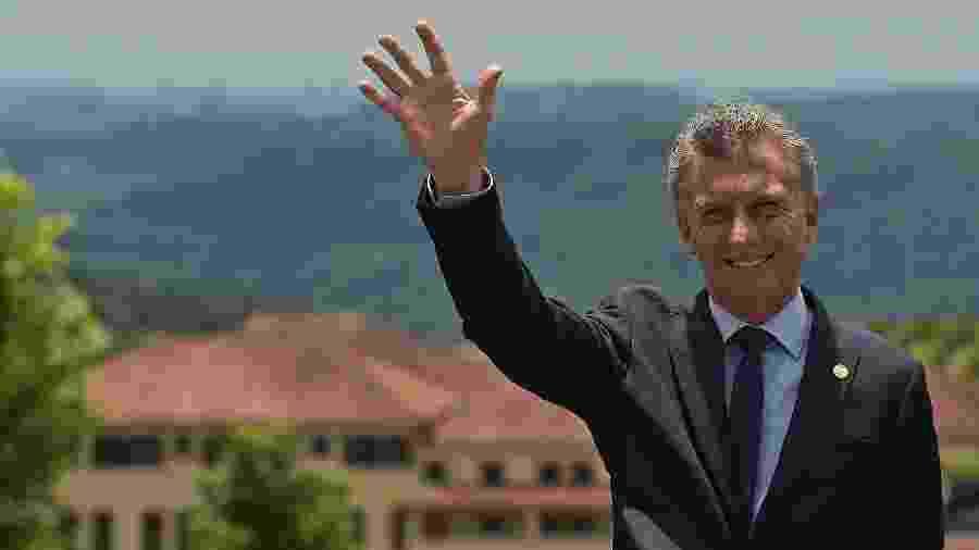 5.dez.2019 - Maurício Macri em Bento Gonçalves (RS), durante cúpula do Mercosul - CARL DE SOUZA / AFP