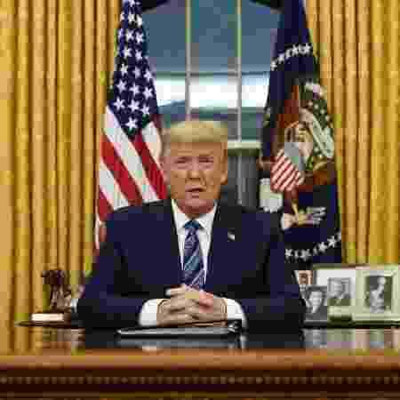 11/03/2020 - O presidente Donald Trump em pronunciamento sobre medidas que os EUA tomarão para conter o coronavírus - Doug Mills / POOL / AFP
