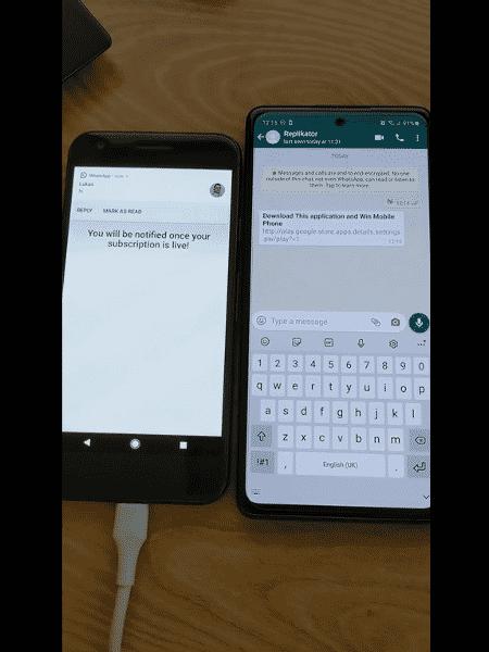 Mensagem automática enviada a contatos do WhatsApp após infecção com malware - Reprodução - Reprodução