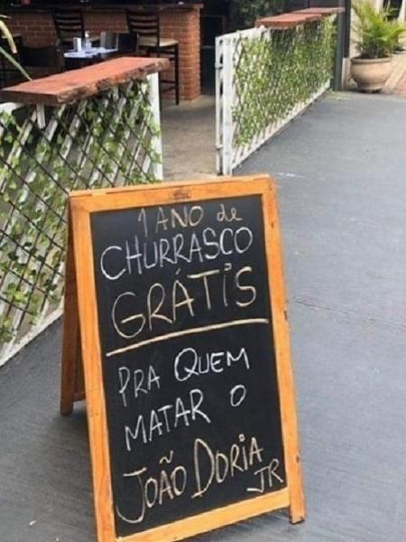 Churrascaria La Casa de Parrilla prometeu 1 ano de churrasco grátis para quem matasse o governador de São Paulo, João Doria  - Reprodução