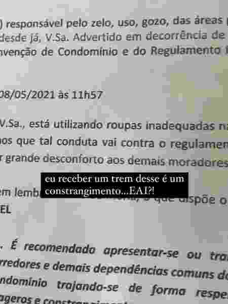 Influencer foi advertida por roupas usadas em condomínio de São Paulo - Reprodução/instagram/@glemarquez - Reprodução/instagram/@glemarquez