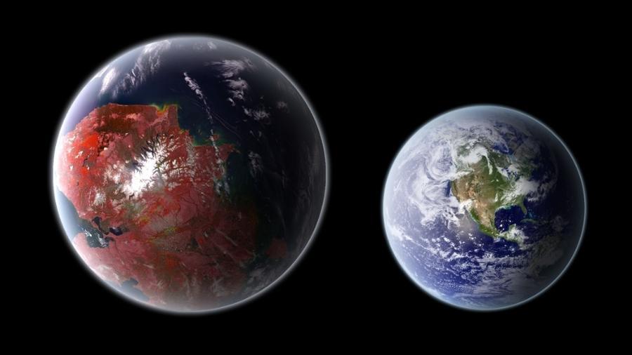Representação artística do exoplaneta Kepler 442-b, um dos potenciais planetas habitáveis da Via Láctea - Ph03nix1986/CC