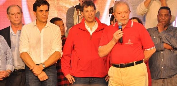 O ex-presidente Lula ao lado do prefeito de São Paulo, Fernando Haddad