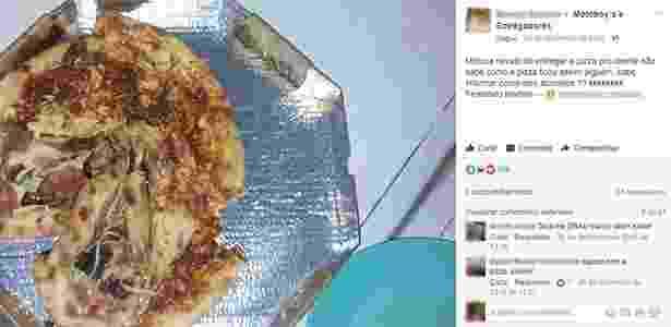 Em postagem no Facebook, usuário escreveu: ''Motoca novato foi entregar a pizza pro cliente não sabe como a pizza ficou assim. Alguém sabe informar como isso acontece?'' Fotos desse tipo estão entre as mais polêmicas  - Reprodução/Facebook/Motoboy's e Entregadores - Reprodução/Facebook/Motoboy's e Entregadores