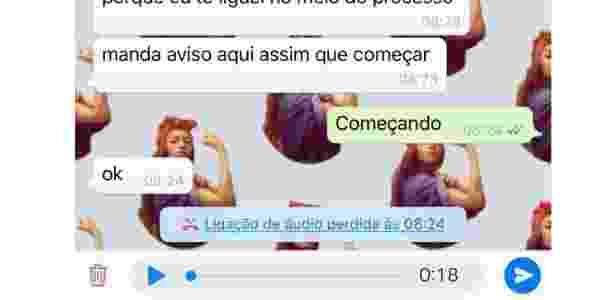 10.jan.2018 - Captura de tela do WhatsApp do iPhone que mostra áudio salvo após ser interrompido por ligação - Reprodução - Reprodução