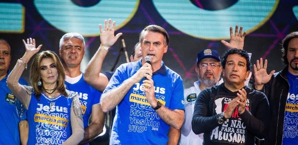 O pré-candidato à Presidência, o deputado federal Jair Bolsonaro (PSL-RJ), participa da 26° Marcha para Jesus em São Paulo