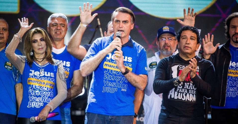 31.mai.2018 - O pré-candidato à Presidência, o deputado federal Jair Bolsonaro (PSL-RJ), participa da 26° Marcha para Jesus em São Paulo