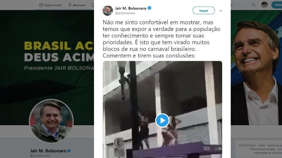 5.mar.2019 - O presidente Jair Bolsonaro (PSL) publica em seu Twitter um vídeo em que um homem urina em outro em público - Reprodução/Twitter Jair Bolsonaro