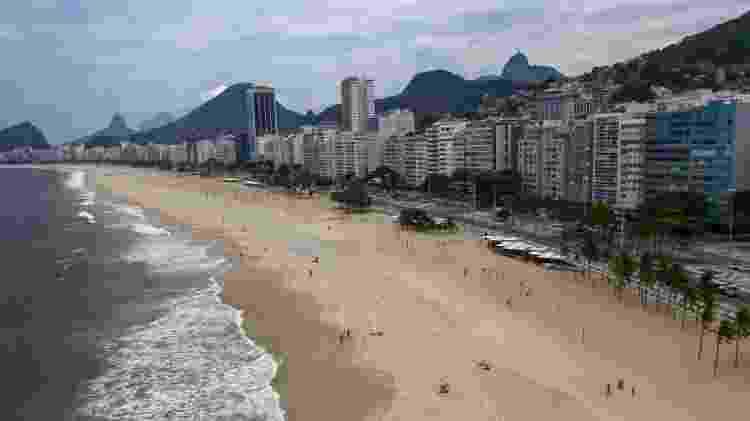 20.03.2020 - Vista aérea da praia de Copacabana, no Rio de Janeiro, esvaziada em função do temor de coronavírus - Mauro Pimentel/AFP - Mauro Pimentel/AFP