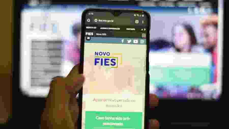 Tela do aplicativo do Fies - Caio Rocha/Framephoto/Estadão Conteúdo