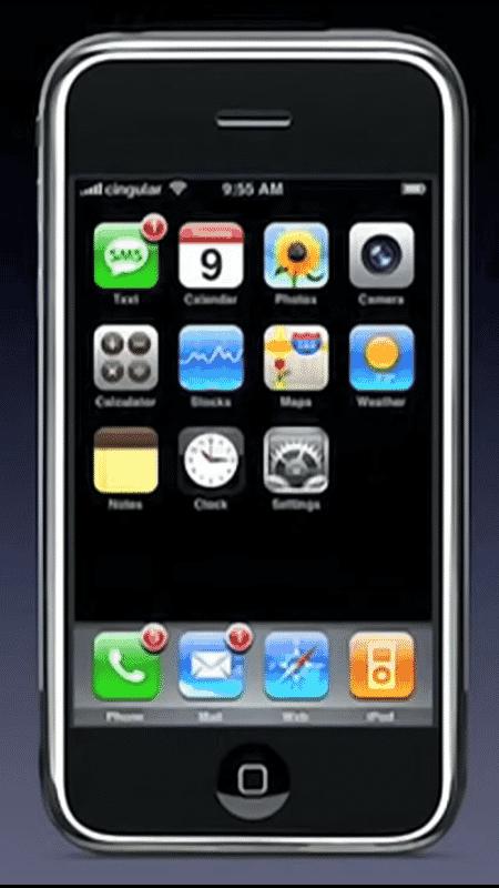 Tela inicial do primeiro iPhone - Reprodução - Reprodução