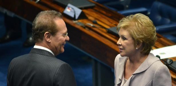 Marta conversa com Renan Calheiros, presidente do Senado, em março