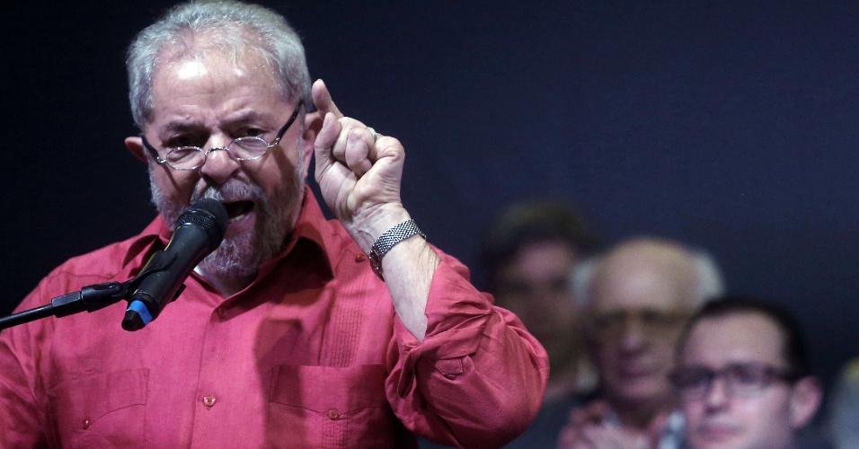 10.nov.2016 - Ex-presidente Luiz Inácio Lula da Silva em discurso durante evento de lançamento da campanha em sua defesa chamada
