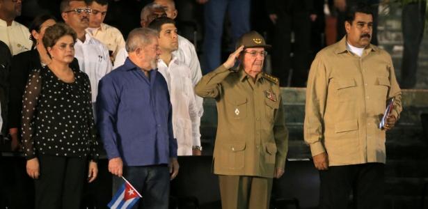 Dilma, Lula, Raúl Castro e Maduro no funeral do líder cubano Fidel Castro