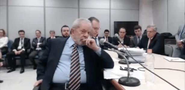 O ex-presidente Luiz Inácio Lula da Silva em depoimento ao juiz Sergio Moro