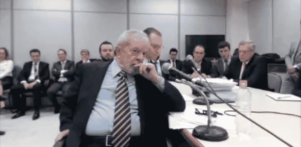 Lula durante depoimento ao juiz Sergio Moro em Curitiba - Reprodução