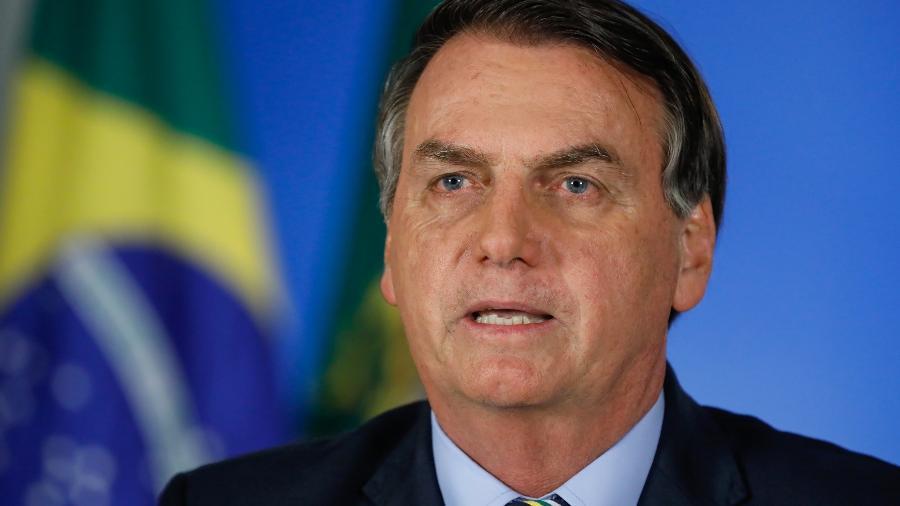 24.mar.2020 - O presidente Jair Bolsonaro (sem partido) durante pronunciamento em rede nacional - Isac Nóbrega/PR
