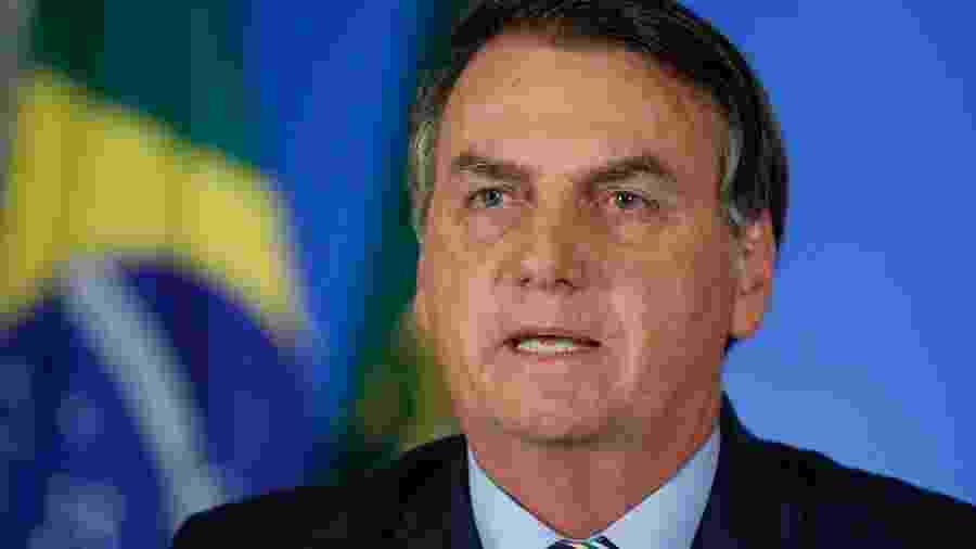 24.mar.2020 - O presidente Jair Bolsonaro (sem partido) durante pronunciamento em rede nacional nesta terça-feira - Isac Nóbrega/PR