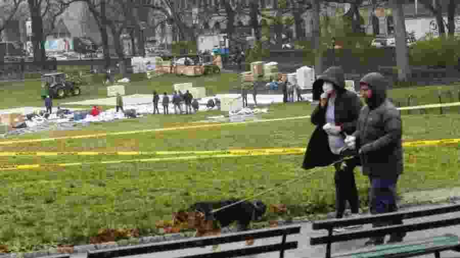 Hospital começa a ser erguido no Central Park, em Nova York - AFP