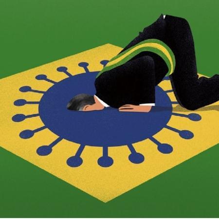 Ilustração da Economist: Bolsonaro de joelhos sobre a bandeira, com a cara enfada no coronavírus - Lo Cole/The Economist