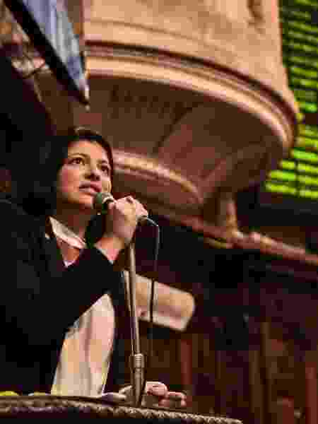 23.set.2020 - Deputada Alana Passos (PSL) discursa na Alerj - Julia Passos/ Alerj