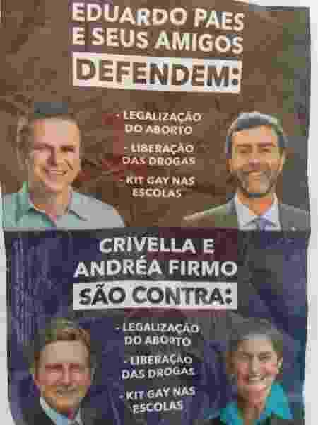 Panfleto espalhado pelo Rio de Janeiro com fake news - Reprodução
