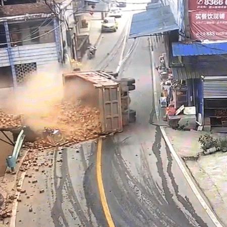 """Câmeras de vigilância gravaram o momento do acidente - Reprodução/YouTube/People""""s Daily, China"""