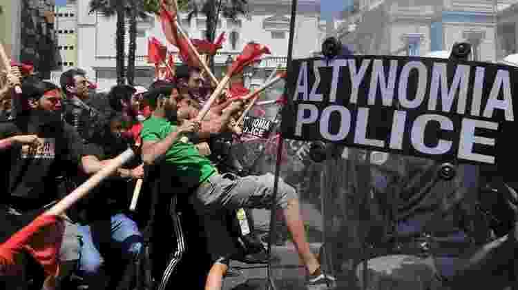 Piora das condições de vida levou gregos às ruas - Getty Images - Getty Images
