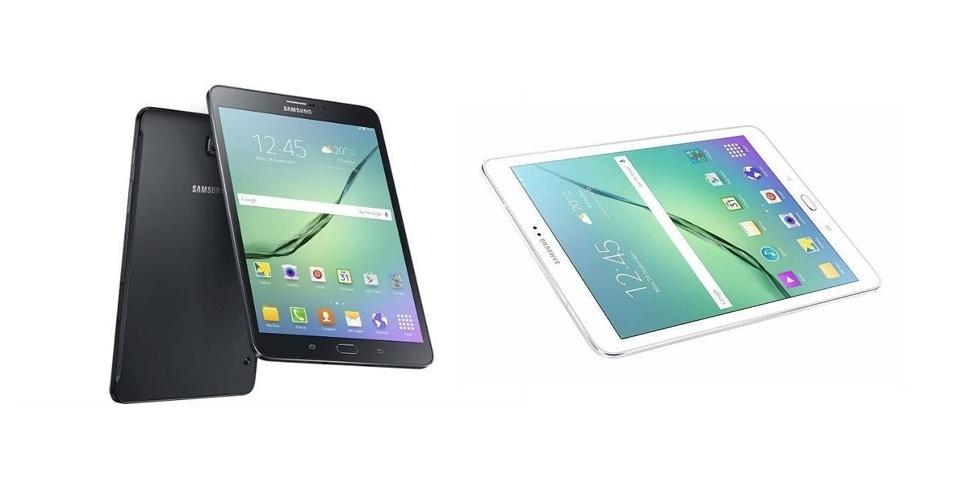 20.jul.2015 - A Samsung lança um novo catálogo de tablets que inclui o Galaxy Tab S2. Com 5,6 milímetros e 400 gramas, o dispositivo é considerado o mais fino já lançado pela empresa sul coreana. Tem duas versões de telas --8 e 9,7 polegadas super AMOLED com resolução de 2048 x 1536 pixels--, processadores octacore Quad de 1,3 GHz e 1,9 GHz, 3GB de memória RAM, versões de armazenamento de 32 GB ou 64 GB, câmeras frontal de 2,1 megapixels e traseira de 8 megapixels, sensor de impressão digital, além de baterias de 5870 mAh e 4000 mAh. O tablete, que roda o Android 5.0.2 Lollipop, deve ser comercializado mundialmente a partir de agosto nas cores branco e preto. O preço ainda não foi revelado