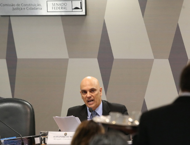 O ministro licenciado da Justiça, Alexandre de Moraes, em sabatina - André Dusek/Estadão Conteúdo