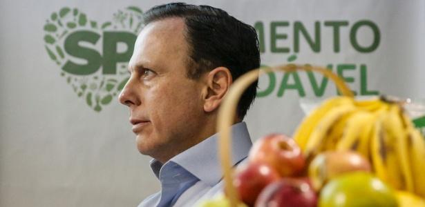 O prefeito de São Paulo, João Doria (PSDB), durante apresentação do projeto Alimento Saudável na merenda escolar