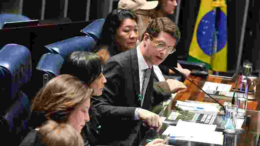 6.jun.2019 - O ministro Ricardo Salles (Meio Ambiente) faz pronunciamento no plenário do Senado durante sessão especial destinada a celebrar o Dia Mundial do Meio Ambiente - Edilson Rodrigues/Agência Senado