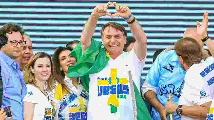 O presidente da República, Jair Bolsonaro, participa da Marcha para Jesus, principal encontro evangélico do país - Jales Valquer/Framephoto/Framephoto/Estadão Conteúdo