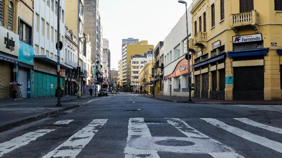 Foto da cidade de São Paulo em março de 2020, durante fase mais restritiva de isolamento social na cidade; para pesquisador, lockdown seria importante para frear covid-19 antes da vacinação  - PAULO GUERETA/ESTADÃO CONTEÚDO
