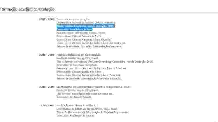 26.jun.2020 - Curriculo Lattes do ministro da Educação, Carlos Alberto Decotelli, com modificação - Reprodução - Reprodução