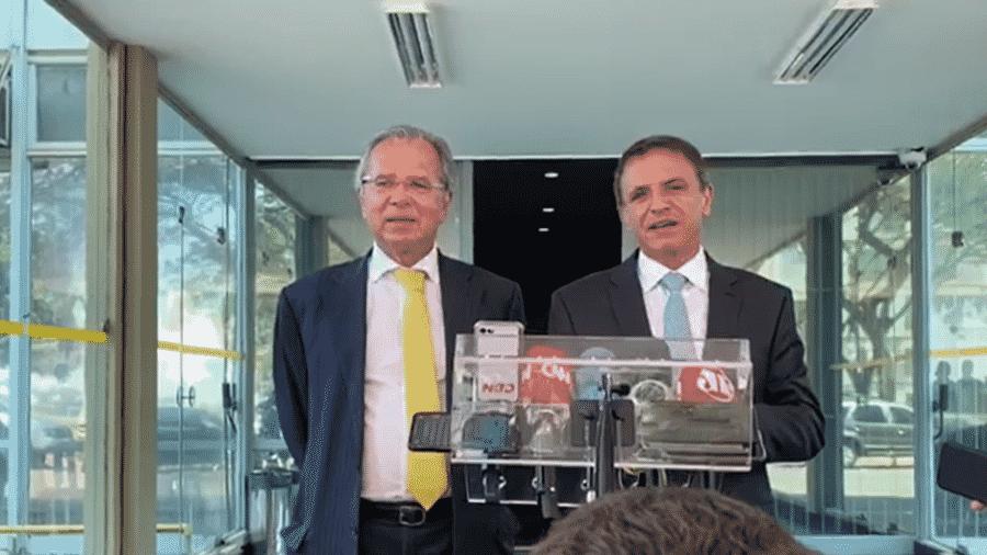 O ministro da Economia, Paulo Guedes, e o senador Márcio Bittar (MDB-AC)  - Antonio Temóteo/UOL