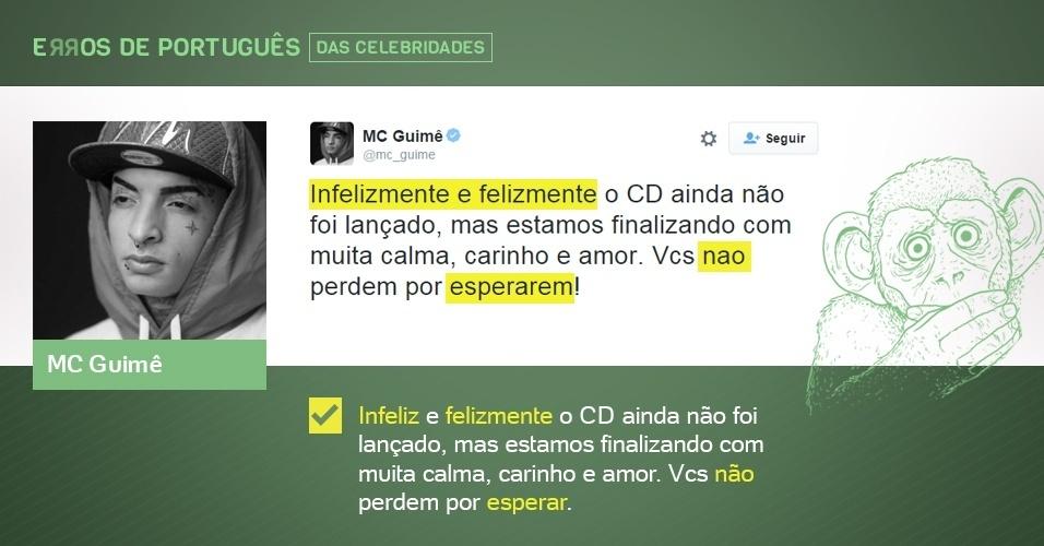 erros de português de celebridades - MC Guimê - corrigido