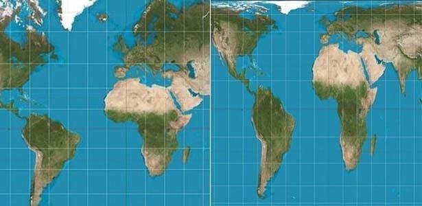 À esq., representação do mundo baseada na projeção de 1569; à dir., a projeção de Gall-Peters, com proporção mais real dos continentes