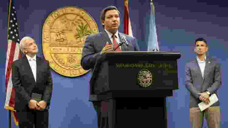 O governador Ron DeSantis disse que se recusa a regredir na reabertura da economia - Getty Images - Getty Images