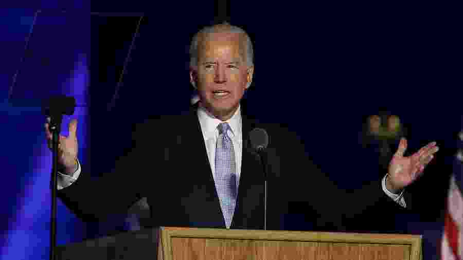 O presidente eleito dos EUA, Joe Biden, discursa em Wilmington, Delaware - Tasos Katopodis/Getty Images