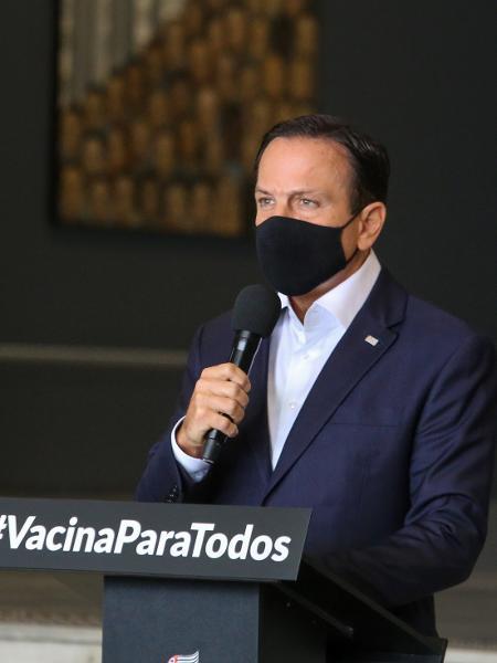Governador de São Paulo, João Doria (PSDB), durante entrevista coletiva sobre a pandemia de covid-19 no Palácio dos Bandeirantes - Divulgação